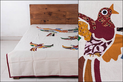 Applique Work Cotton Bedcover - Bird (90 x 60 inches)