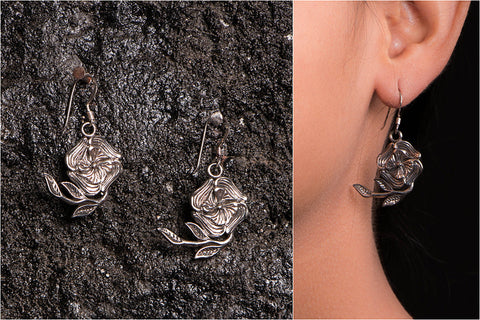 Sufi Handcarved Jaligar Sterling Silver Earrings