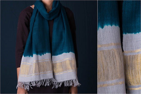 Handwoven Pure Wool Stole with Zari