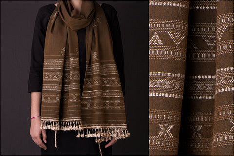 Handwoven Traditional Silk x Wool Cheda Border Stole