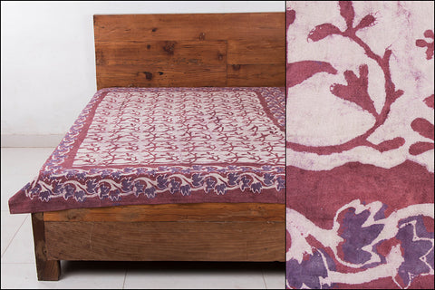 Block Art Prints Natural Dyed Cotton Single Bedcover by Bindaas Unlimited (80 x 62 inches)