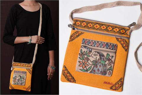 Madhubani Handpainted Jute Cotton Sling Bag