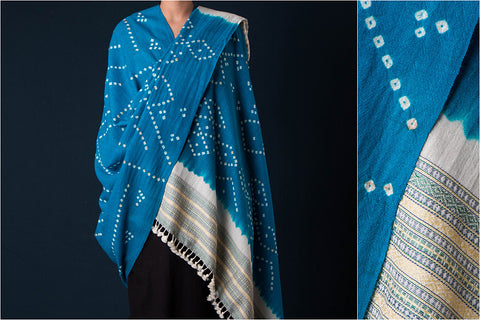 Kutch Handwoven Bandhani Fine Pure Wool Shawl