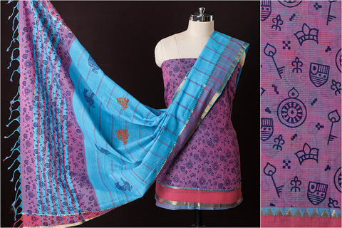 Original Mangalgiri Handloom Screen Print Cotton 3pc Suit Material with Zari Border