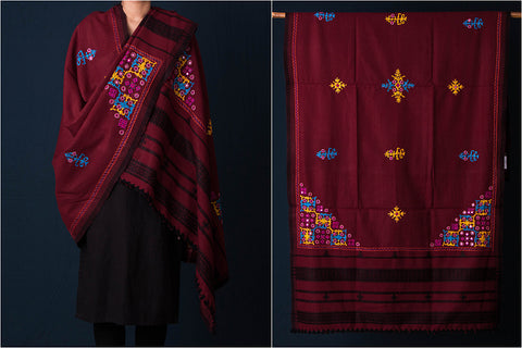 Pacco Hand Embroidered Mirror Work Woolen Shawl