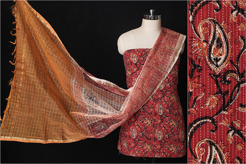 Sanganeri Hand Block Printed Kantha Cotton 3pc Suit Material Set with Silk Cotton Dupatta