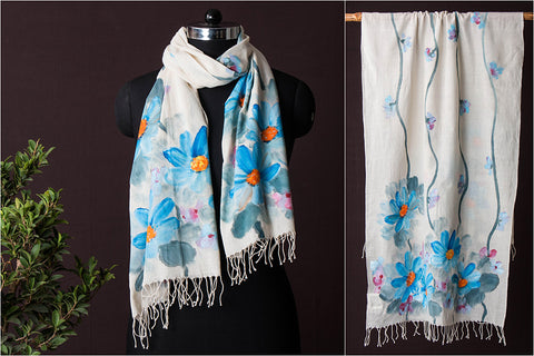 Soft Khadi Cotton Hand Painted Handloom Stole by Antima Khanna