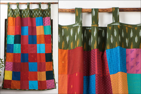 Noori Ikat Jaquard Patchwork Cotton Window Curtain (5 x 3.5 feet)