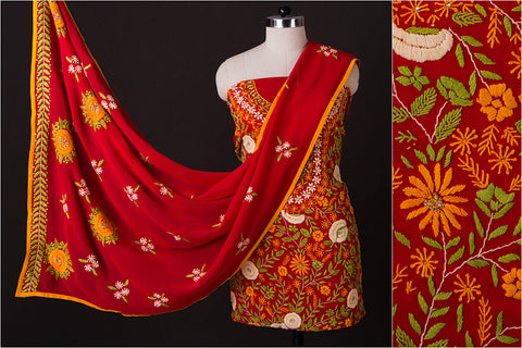 Phulkari Embroidered Georgette 3pc Suit Material