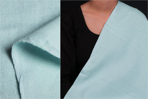 Pale Teal - Jhiri Pure Handloom Cotton Fabric (Width - 48in)