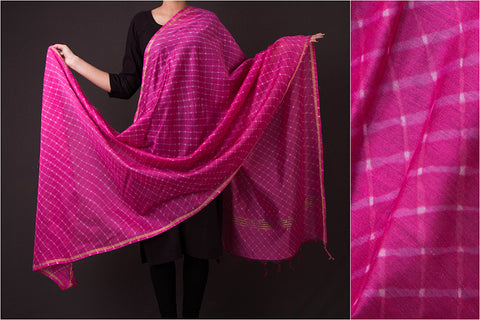 Original Leheria Chanderi Silk Dupatta with Zari
