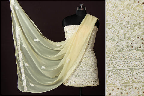 3pc Lucknow Chikankari Embroidered Georgette Suit Material
