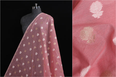Traditional Banarasi Cotton Thread & Zari Work Fabric
