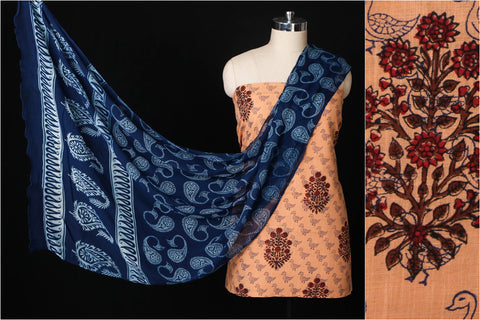 Sanganeri Hand Block Printed Pure Cotton 3pc Suit Material Set with Chiffon Dupatta