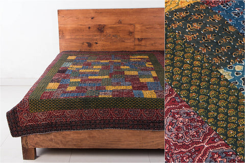 Reversible Kutch Tagai Embroidered Ajrakh Cotton Single Bed Cover with Patchwork (84x58 inches)