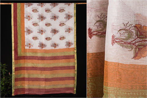 Linen Zari Border Sanganeri Hand Block Print Saree with Blouse
