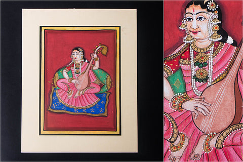 8in x 6in - Traditional Mysore Painting Musical Lady with Thamburi