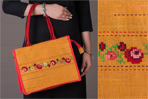 Hand Embroidered Jute Multipurpose Hand Bag