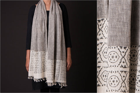 Block Printed Organic Kala Cotton Handwoven Stole by Khamir