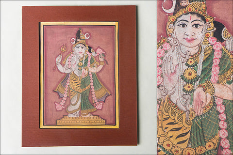 8in x 6in - Traditional Mysore Painting Ardhanarishvara God