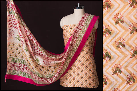 Bagru Block Print Chanderi 3pc Dress Material Set