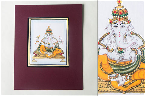 6in x 5in - Traditional Mysore Painting Ekakshara Ganapathi God
