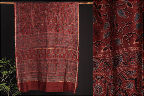 Ajrakh Block Print Chanderi Silk Chaar Kaam Saree with Blouse