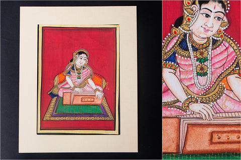 8in x 6in - Traditional Mysore Painting Musical Lady with Taal