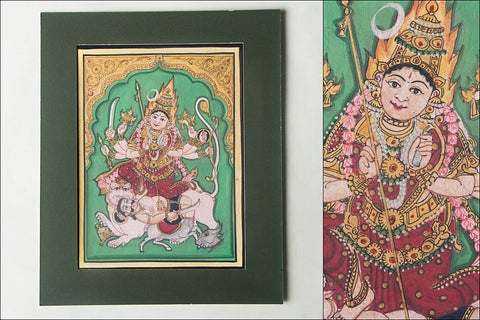 8in x 6in - Traditional Mysore Painting Chamundeshwari God