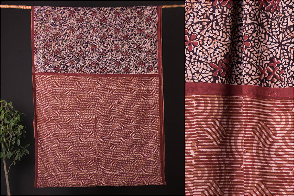 Bindaas Art Block Print Natural Dyed Cotton Saree
