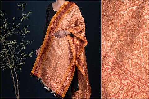 Traditional Pure Banarasi Handwoven Silk Zari Stole