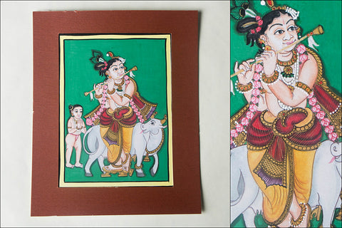 8in x 6in - Traditional Mysore Painting Krishnavathara