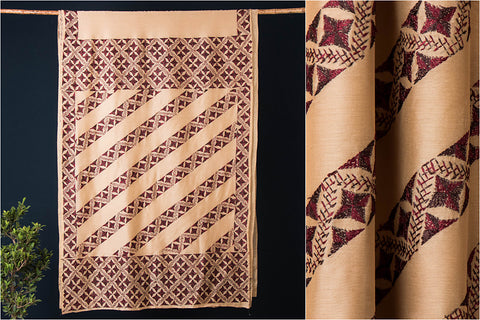Traditional Phulkari Embroidered Chanderi Silk Saree