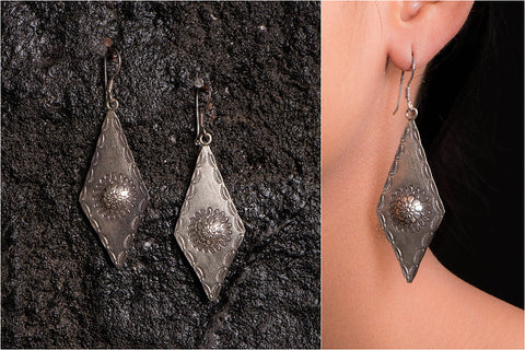 Sufi Handcarved Featherilte Sterling Silver Earrings