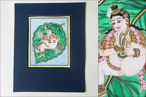 6in x 5in - Traditional Mysore Painting Krishna On Leaf