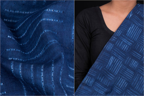 Shibori Tie-Dye Indigo Cotton Fabric