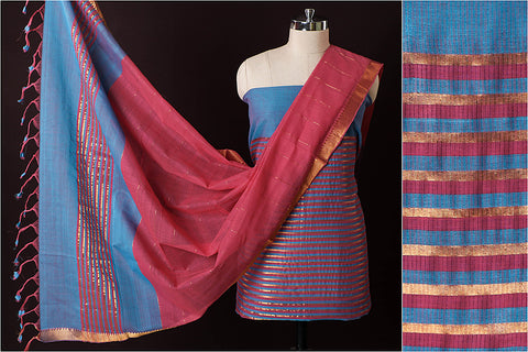 Original Mangalgiri Handloom Tissue Cotton 3pc Suit Material with Zari Border