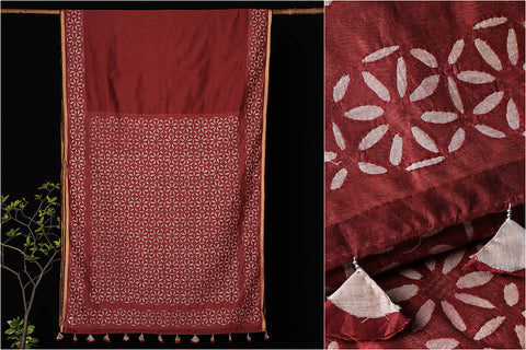 Barmer Applique Work Chanderi Silk Saree with Tassels
