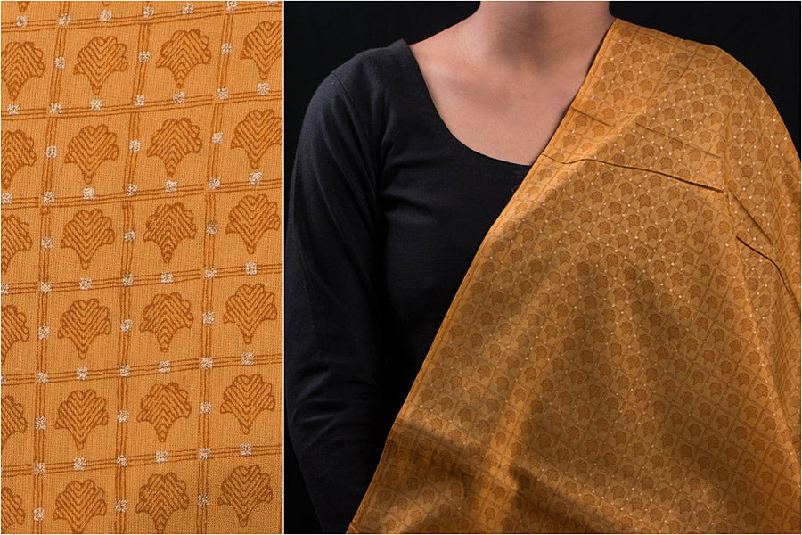 Special Screen Print Gold Buti Cotton Fabric