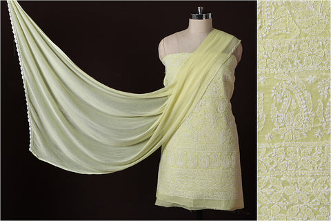 Lucknow Chikankari Hand Embroidered Cotton 3-piece Suit Material Set