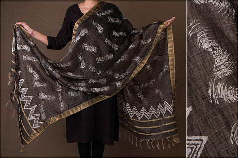 Bagru Dabu Printed South Cotton Ghicha Border Dupatta