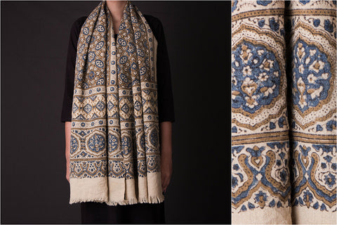 Ajrakh Woolen Stole Hand Block Printed & Natural Dyed From Kutch
