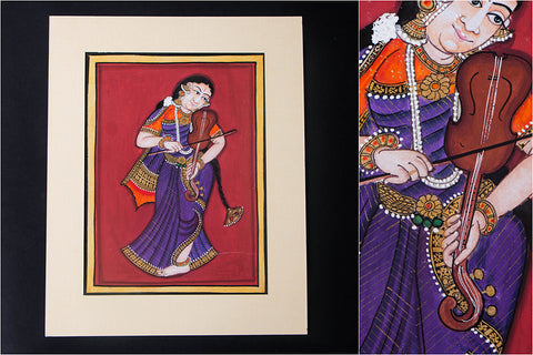 8in x 6in - Traditional Mysore Painting Musical Lady with Violin
