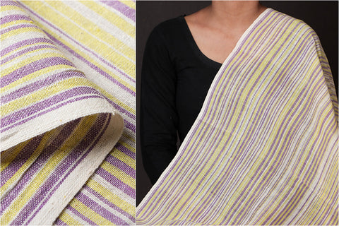 Organic Kala Cotton White Yellow Purple Stripe Fabric (Width - 43in)