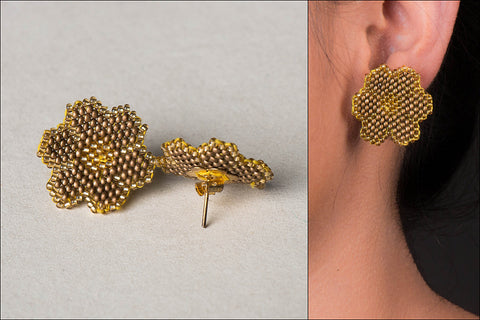 Neemuch Handmade Beadwork Flower Earrings by Pushpa Harit