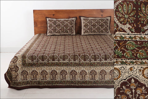Bagru Hand Block Printed Cotton Double Bed Cover with Pillow Covers (108 in x 90 in)