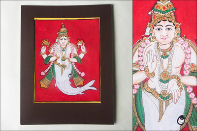 10in x 8in - Traditional Mysore Painting Matsyavathara