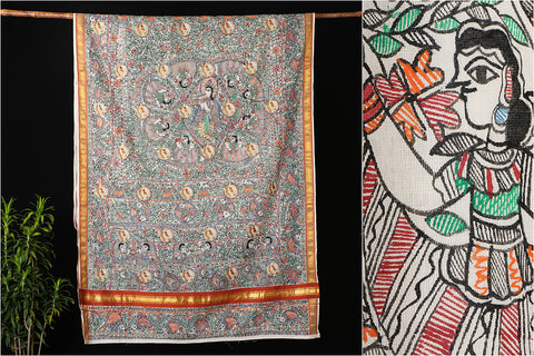 Kasavu Cotton Madhubani Handpainted Saree