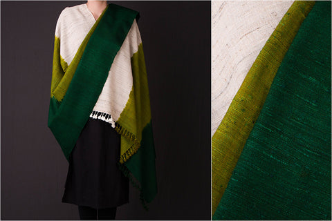 Kutch Handwoven Silk x Wool Three Shade Shawl