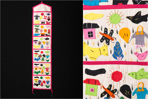 Pipli Applique Work Wall Hanging Letter Holder - (6 Pockets)